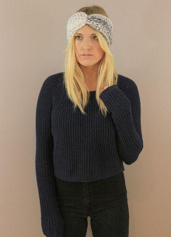 Marble Very warm ear warmers Black Chunky Wool/Acrylic turban Headband. Handmade Miyuki Crochet
