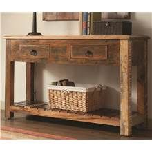 Rustic Console Table in Brown Finish