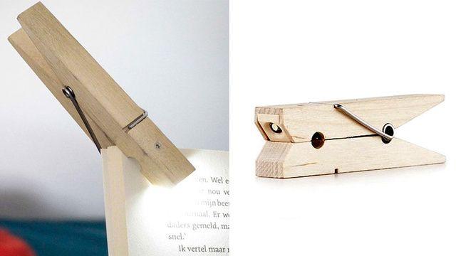 洗濯バサミの形をした読書用LEDライト。おしゃれ!  ◆読書にぴったり、LEDで光る洗濯バサミ : ギズモード・ジャパン