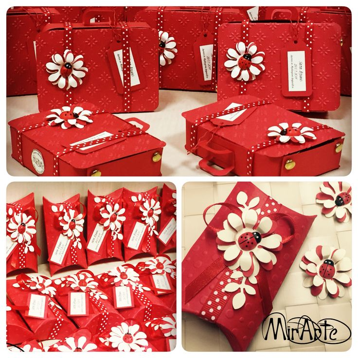 Pillow Box e Bag Suitcase scatoline laurea bomboniere rosse