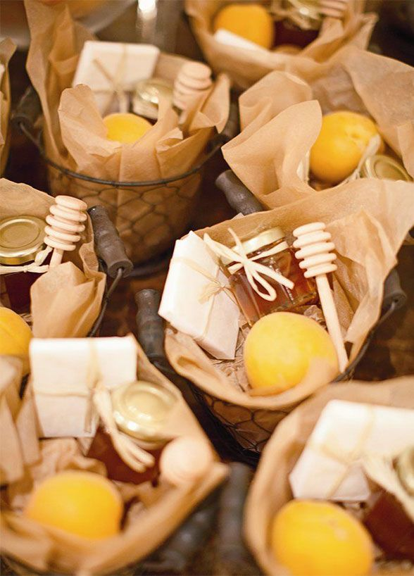 11 Fresh Wedding Favors For The Eco-Chic Couple: 2, Honey & Tea To Go. A parcel of tea bags, a jar of honey with a wooden dipper, and a lemon can be the perfect way for guests to wind down once they have arrived back at home.
