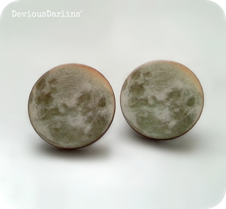 Full Moon Earrings.. Resin covered print, on laser cut wood <3