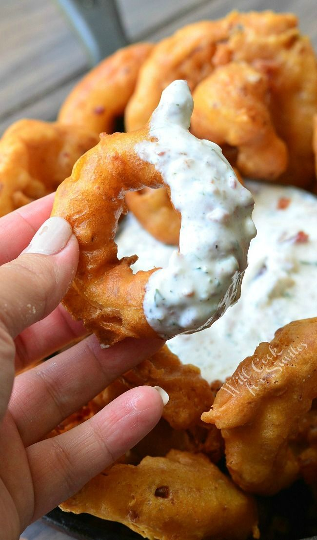 Bacon Onion Rings with Bacon Ranch Dipping Sauce 3 from willcookforsmiles.com