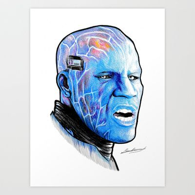 Electro Portrait drawing Art Print by DeMoose_Art - $20.00 Free Shipping + $5 Off Each Item in your shop!