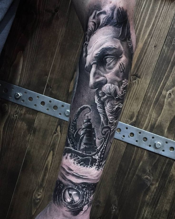 Poseidon tattoo by Ash Lews