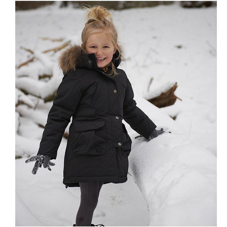 Ver de Terre black girls eskimo coat with sagafurs fur trim. Size 3 years - 16 years.
