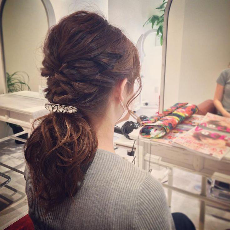 today's hair style☆ ツイストルーズテール☆ #ヘアセット #セット #アップスタイル #ポニーテール #テール #編み込み #ツイスト #波ウェーブ #ねじねじ #ルーズ #フェミニン #ブライダル #パーティー #t2style #courarir #courarirhair #courarirkyotoekimae #courarirhairkyotoekimae