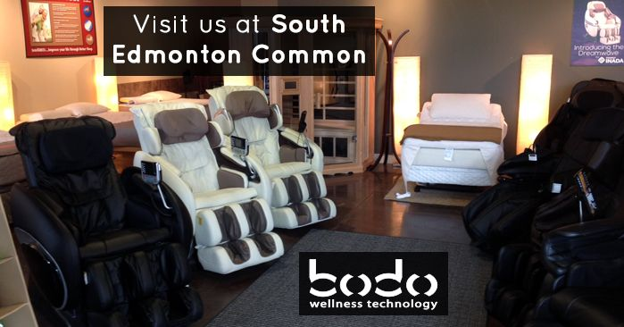 Bodo Wellness Technology - South Edmonton Common 1715-102 Street NW Edmonton, AB (780) 465-4653  Hours:  Monday - Friday: 11 AM - 7 PM Saturday: 10 AM - 6 PM Sunday and Holidays: 12 Noon - 5 PM  View all Bodo retail locations: http://www.bodo.ca/pages/retail