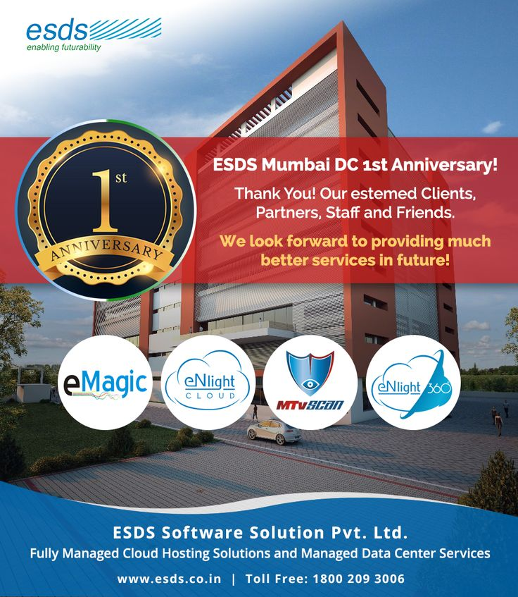 ESDS celebrates Mumbai DC 1st Anniversary! We thank our Clients, Partners, Staff and Friends.