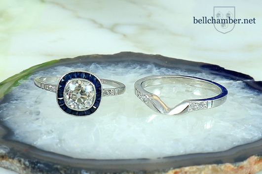 Custom Platinum ring to fit with Antique Art Deco Ring with Diamond