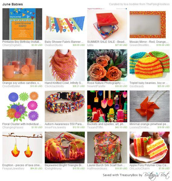 June Babies https://www.etsy.com/treasury/MzMwNTE2NTZ8MjcyMzczODc3OQ/june-babies  Happy Birthday and Etsy Anniversaries to the following: GreenStreetMosaics, ClickClackKnits, GssBeauty, Lutita, CherryDigitalDesign,ChangingVases,InnerFireJewelry and firepanJewellery!