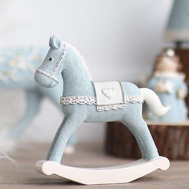 Миз дома синий конь ручной работы Craft игрушка для детей неваляшка подарок для детей рождественские украшения подарок на день рождения