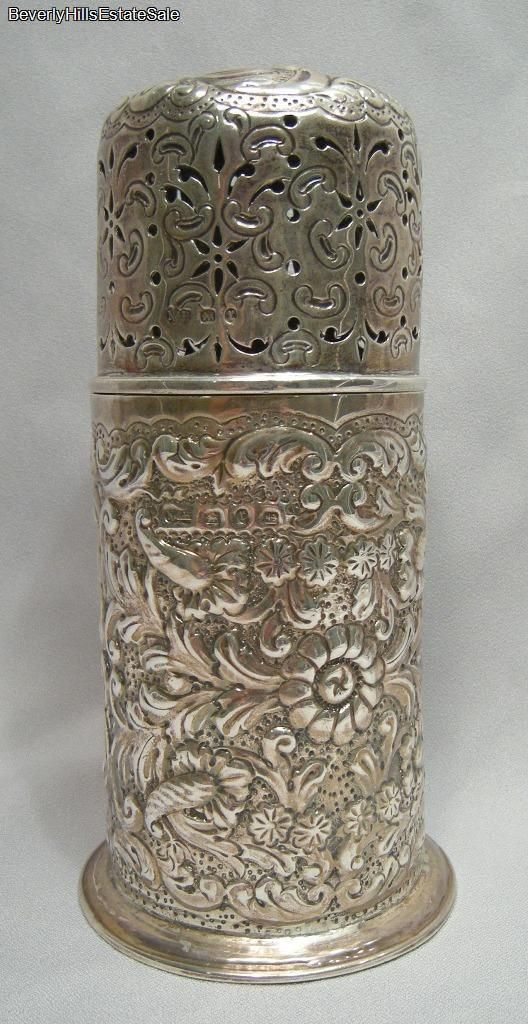 Antique Victorian English Sterling Silver Floral Repousse Sugar Caster.