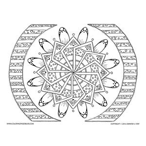 This Mandala Has A Unique Geometric Design Combined With Leaves Perfect For Coloring Bliss And Relaxation