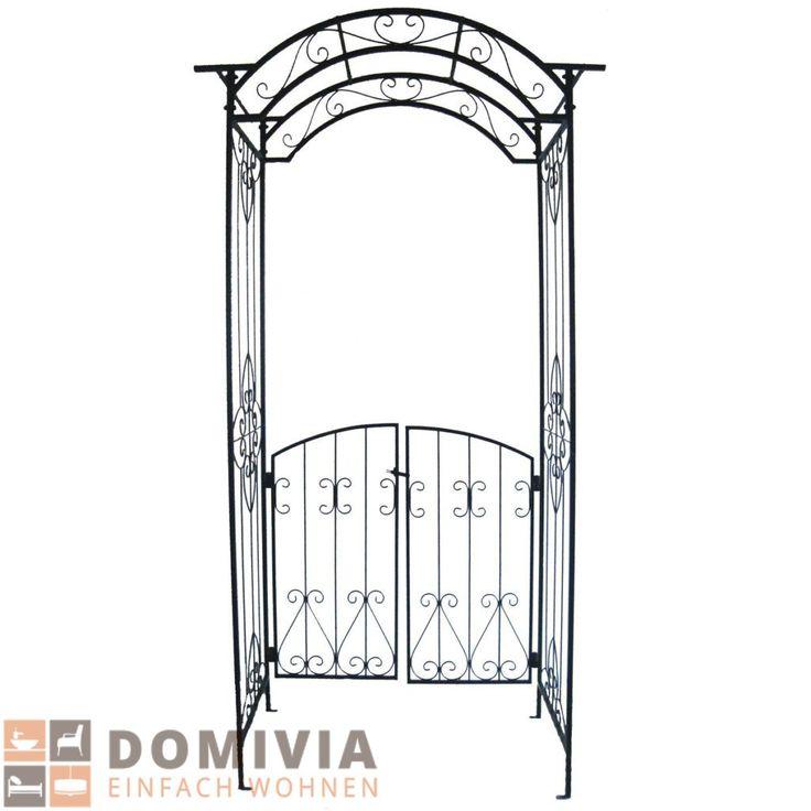 Pforte mit Rosenbogen Metall Schwarz 119×235 cm Garten Eingang