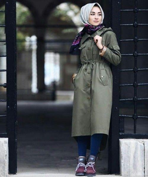 khaki coat hijab image