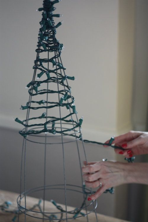 How To String Lights On A Christmas Tree Pinterest : 17 Apart: DIY: Tomato Cage Christmas Tree Lights decorating ideas Pinterest Tomato cage ...