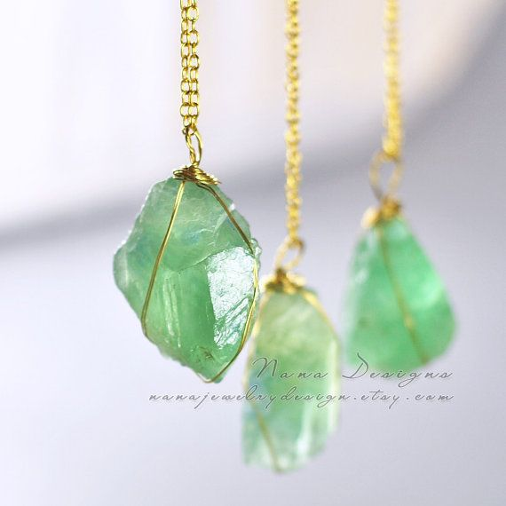 Natural Stone Jewelry : Fluorite necklace raw crystal mint green