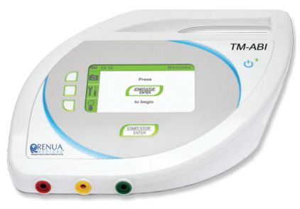 The Diabetic TM-ABI is the first valuable automated ankle-brachial index measuring device based on oscillometric and pneumo-plethysmography method (Pulse Volume Records). The blood pressure on the upper and lower extremities is measured simultaneously, resulting in the calculation of the anklebrachial index (ABI).