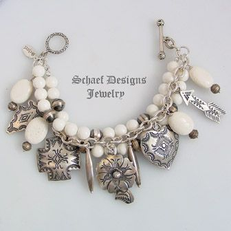 Schaef Designs Vince Platero White Coral  Sterling Silver Southwestern Charm Bracelet ~ New Mexico
