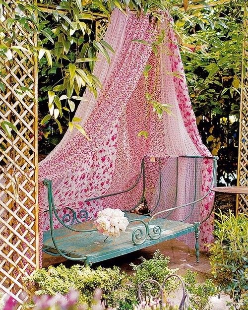 daybed in the garden I could actually make a side spot by just hanging some pretty sheets from the rafters of the pergola in a corner