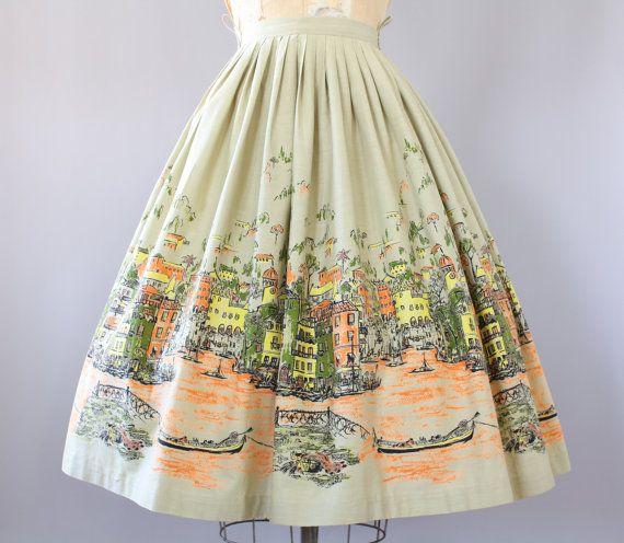1950s Venice Scene Novelty Print Skirt