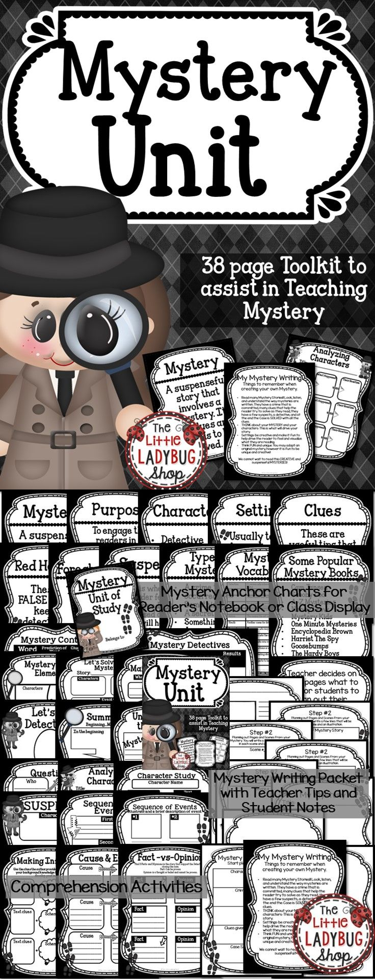 Mystery Unit | Mystery Unit | Mystery Unit  In this Mystery Unit you will find tools to assist you in teaching about the genre Mystery. I have gathered components to get you started on the Reading and Writing components of this Unit of Study.   ★★Included {38 pages}★★