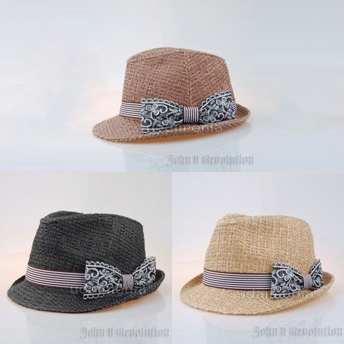 Straw Fedora Hat for Women Raffia Ribbon Hats Brown Charcoal Beige 7 1/8~7 3/4