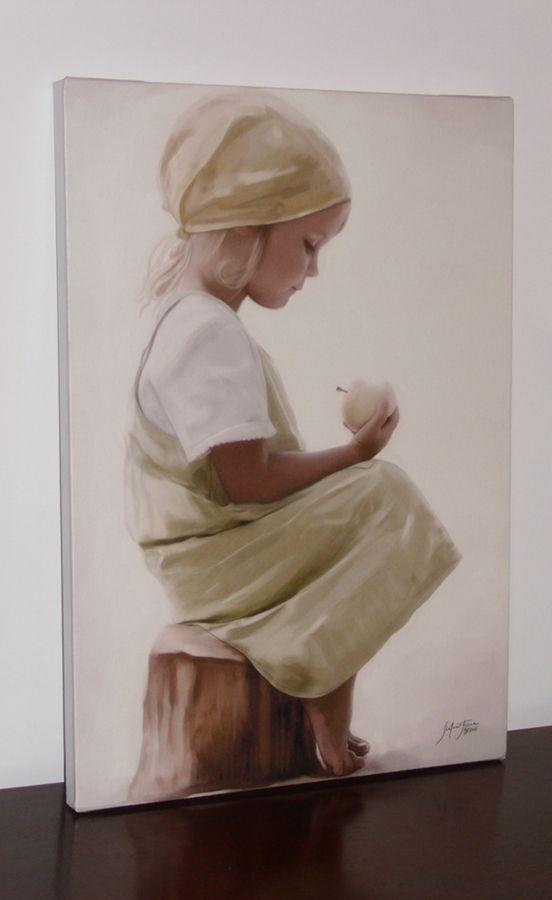 """Childhood 35x50cm, intelaiato, stampa su tela artistica italiana  Opera realizzata per il progetto di beneficenza """"Un Sorriso per Roberta"""", il ricavato della vendita è andato a favore dei bambini della striscia di Gaza."""