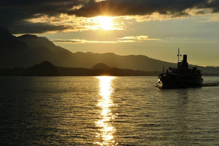 Switzerland, Sunset, Boat, Switzerland, Lake, Water #switzerland, #sunset, #boat, #switzerland, #lake, #water