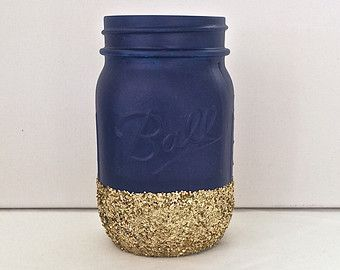 Navy + Gold Glitter Mason Jar. Perfect for Weddings, Birthday Parties, Makeup Brush Holder, Bridal Showers, Nautica