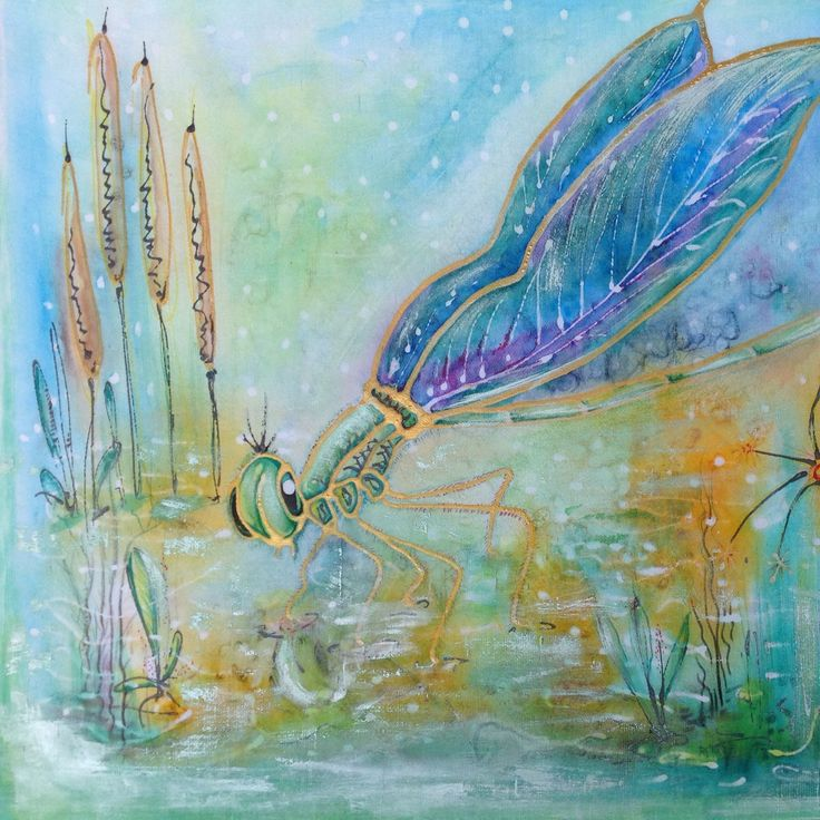 Dragonfly; Spiritual, Changes, New beginning, watercolour, silk painting, for sale
