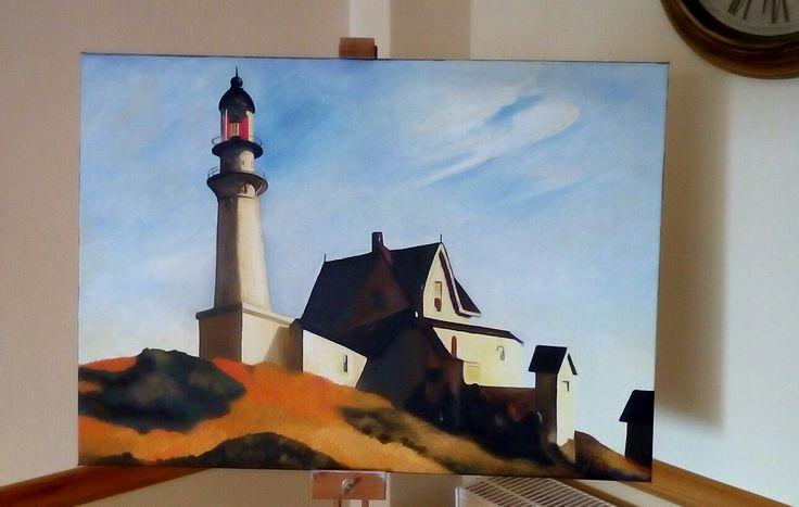 Edward's Hopper lighthouse. Canvas oil painting