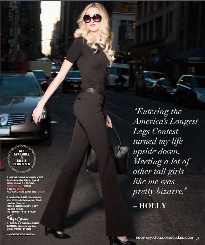 """Meet your tall sister, Holly, holder of the title: """"America's longest legs!""""  'Meet Your Tall Sisters' Holly Renee Burt 