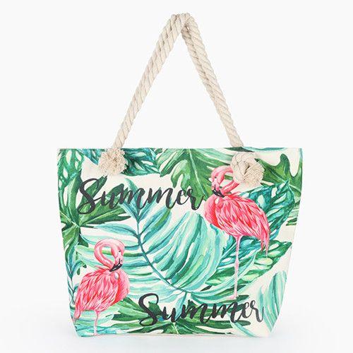 Flamingo Print Casual Bag Ladies Canvas Beach Bag Shoulder Bag Handbag Handbag Color 1