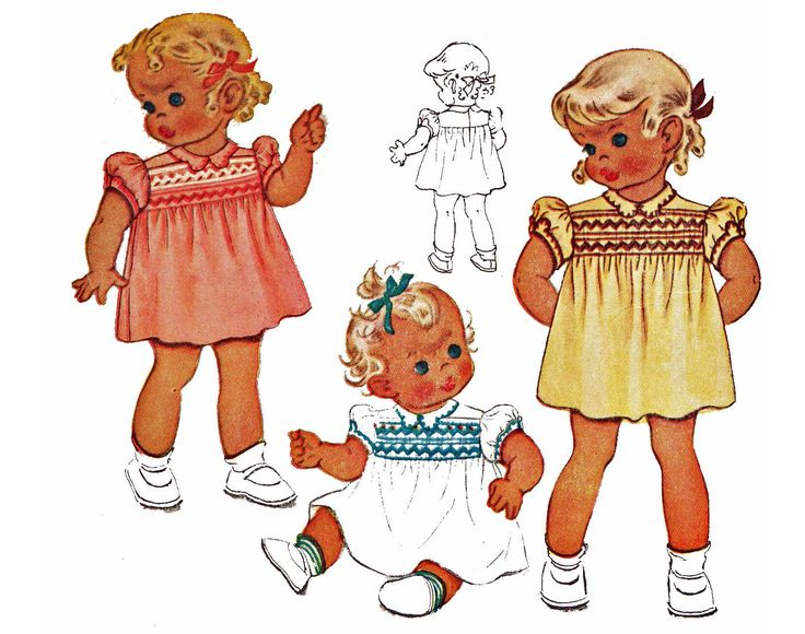 1940s Toddler Girls Smocked Dress Pattern Vintage 1945 Sewing Pattern McCall McCalls 1189 Size 1 by TheOldLeaf on Etsy