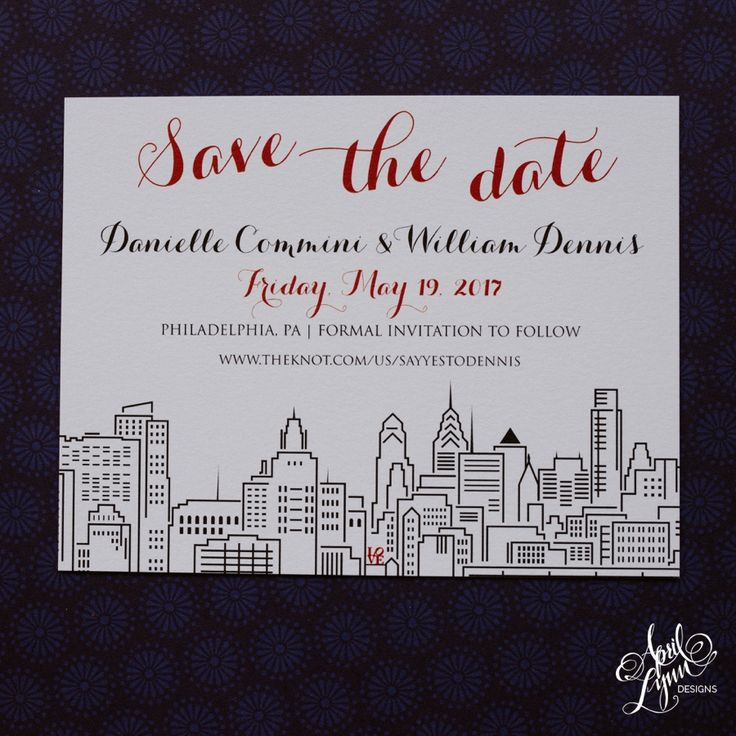 April Lynn Designs Philadelphia themed Save The Date