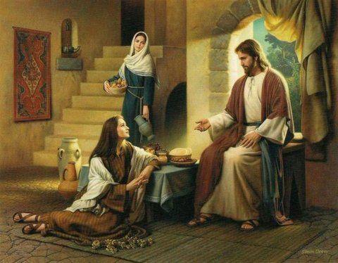 Jesús con las hermanas de Lázaro, Marta y María, que está sentada a sus pies