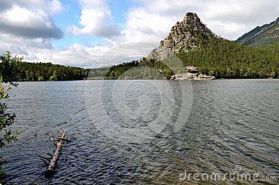 Okzhetpes rock and lake Borovoe, State National Natural Park Burabai, Kazakhstan