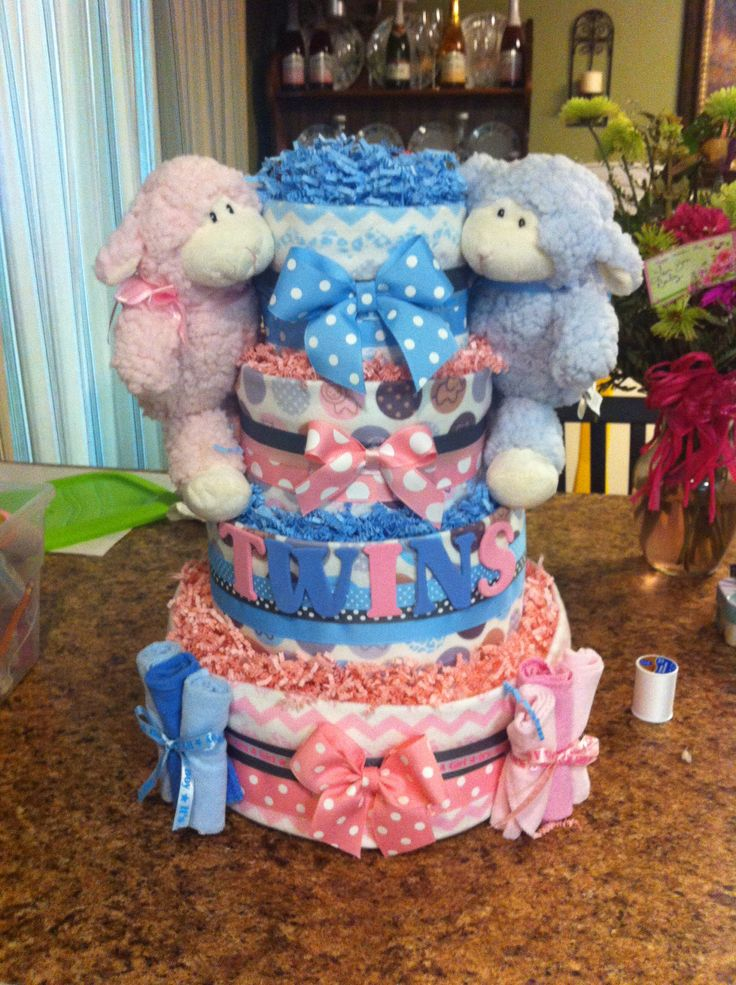 Cake Ideas For Twins Boy And Girl : Best 25+ Twin diaper cake ideas on Pinterest Twin boy ...