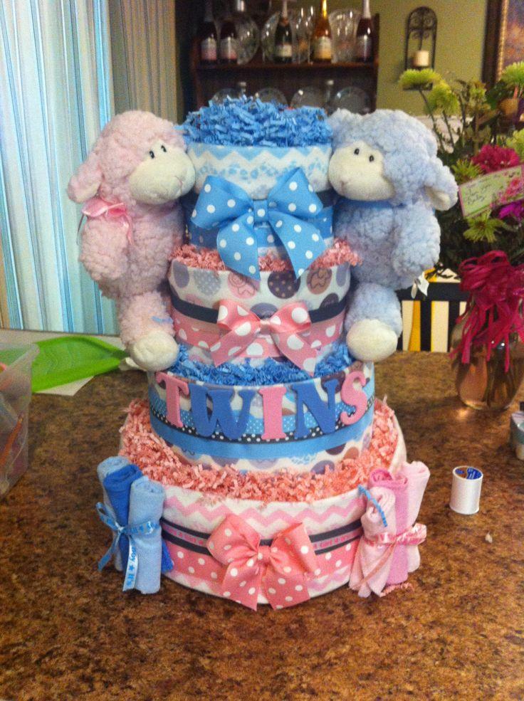 Twin Monkey Diaper Cake