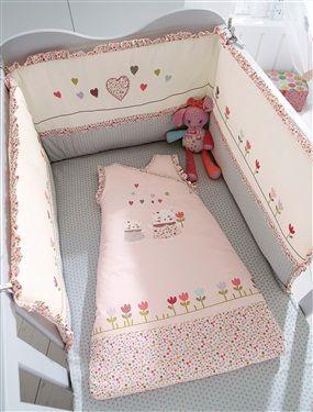 Tour de lit brodé bébé thème Chatpristi, Chambre Bébé