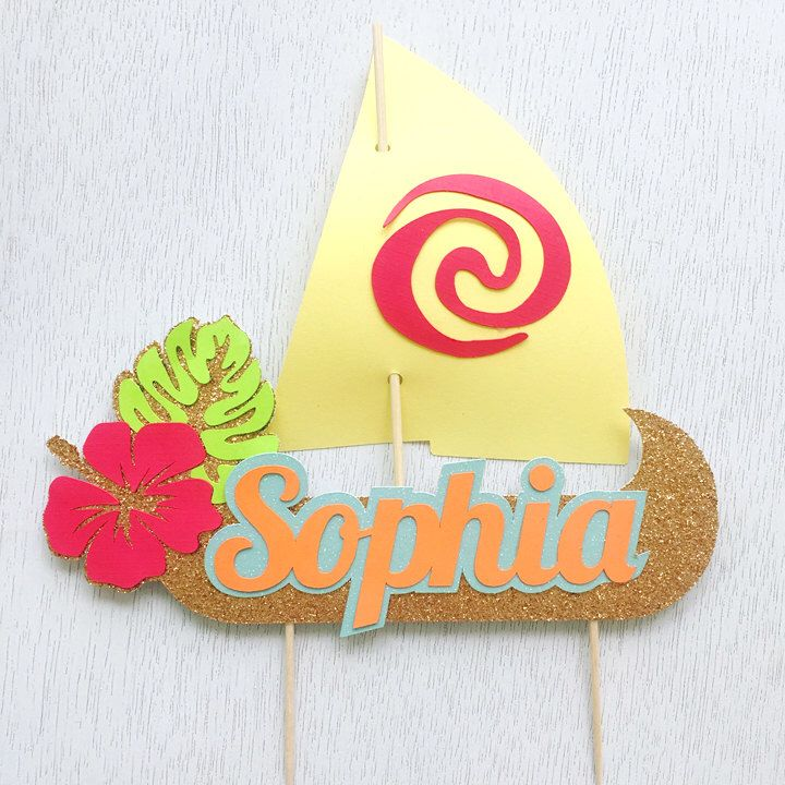 Moana Sail Boat Cake Topper, Personalized Cake Topper, Luau Party Decoration, Moana Birthday Cake Topper, Disney Decoration, Hawaiian Party by perlaospot on Etsy https://www.etsy.com/listing/502668389/moana-sail-boat-cake-topper-personalized