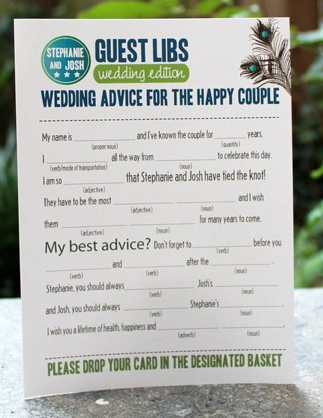 Wedding ideas. This is a great idea which could be useful or funny for the couple to read after the event. Maybe even incorporate into the speeches?