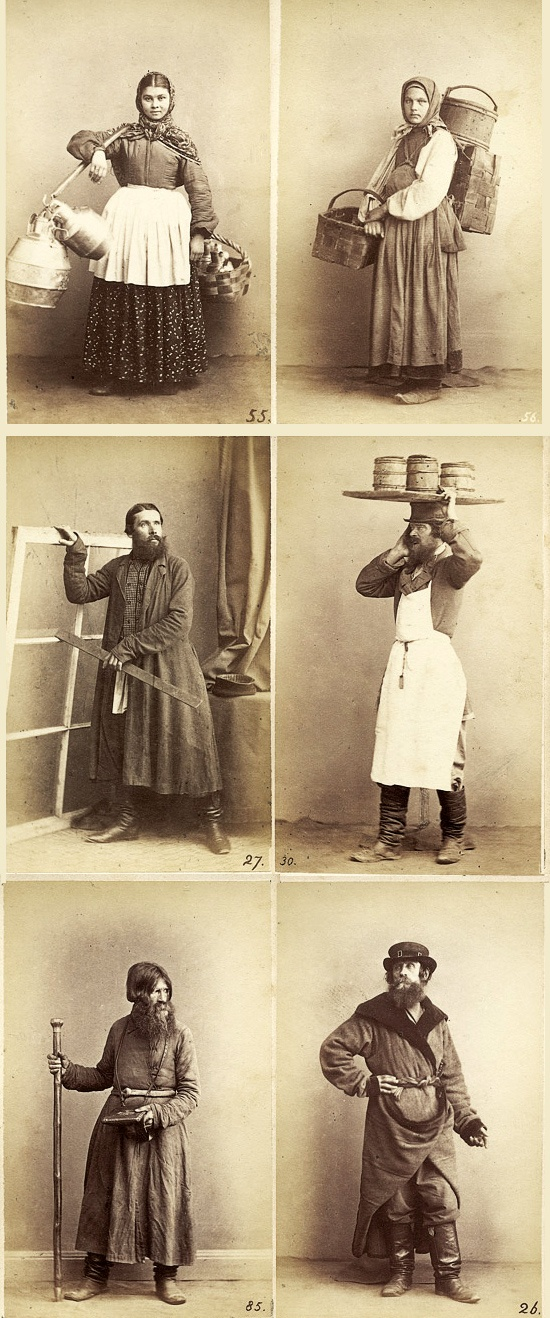 Portraits of Russian types and occupational studies by William Carrick