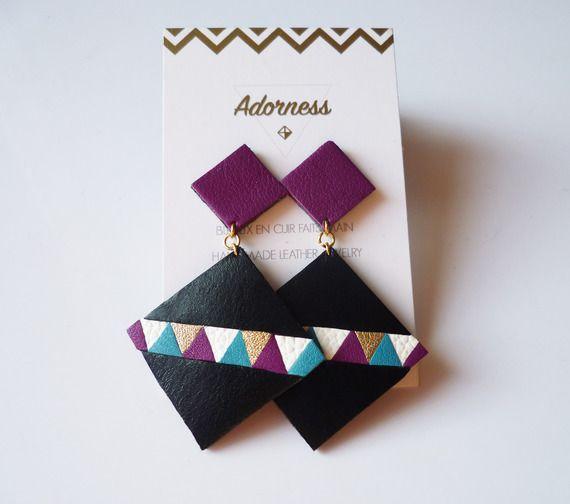 Boucles d'oreilles carré en cuir recyclé noir doré blanc turquoise violet - Idée cadeau - Eté