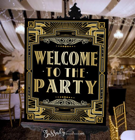 Welcome Gatsby Party Poster – INSTANT DOWNLOAD – Printable, Wedding, Birthday, New Years Eve, Art Deco 1920s Sign, Decoration, Decor