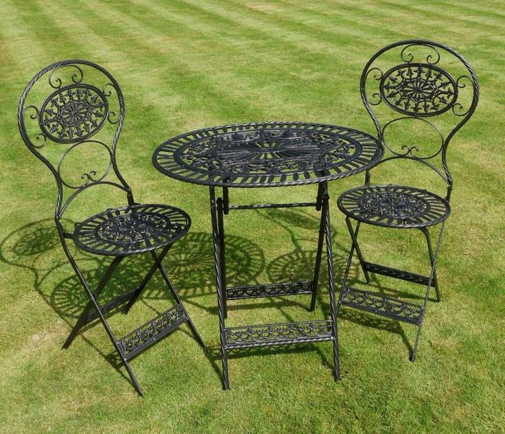 Details about shabby chic antique black metal garden furniture iron patio set table chairs - Garden furniture shabby chic ...