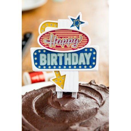 ¡Pon la guinda al pastel!  Decora tus tartas de cumpleaños con este divertido letrero luminoso de estilo Las Vegas