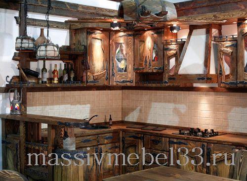 Мебель на заказ в Москве из сосны,дуба:Кухня из дерева под старину цены от 25
